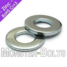US / Inch - SAE Flat Washers, Cr+3 Zinc Plated Steel, #4 #6 #8 #10 1/4 5/16 3/8
