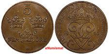 Sweden Gustaf V Bronze 1926 5 Ore aUNC KM# 779.2