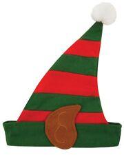 Navidad Infantil Verde& Rojo Rayas Elf Sombrero con Orejas & Pompón