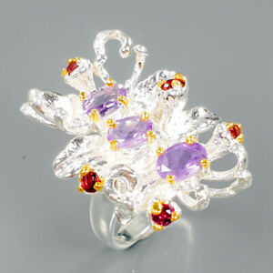 Fashion Design Women Natural Amethyst 925 Sterling Silver Ring Size 7/R90323