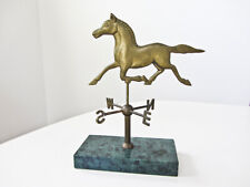 Vintage Brass Running Horse Tabletop Weather Vane Mounted on Green Marble Base