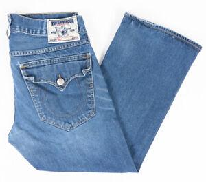 True Religion Billy Straight Leg Mens Jeans Faded Medium Wash Size 34x28