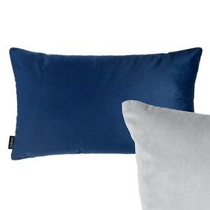 Reversible Rectangle Velvet Cushion Navy Blue Grey Sofa Pillow Cover Oblong UK