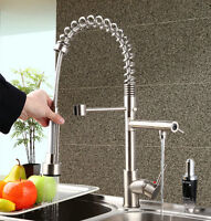 Kitchen 2 Spout Swivel&Pull Down Basin Sink Faucet Mixer Tap Brushed Nickel