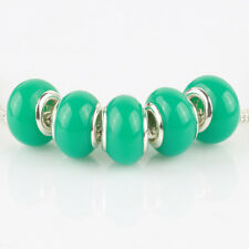 5pcs Jelly Green MURANO bead LAMPWORK fit European Charm Bracelet