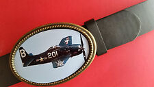 Fighter Planes of WWII - GRUMMAN F8F BEARCAT   Epoxy  Buckle & Black Belt - NEW!