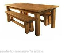 REAL SOLID WOOD DINING TABLE AND BENCHES CHUNKY RUSTIC PLANK PINE FURNITURE
