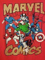 Marvel Comics Shirt Junior Girls Short Sleeve Red New Spiderman Thor Size XXL 19