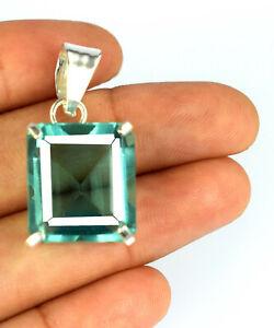 925 Sterling Silver Green Topaz Pendant 28.75 Ct Emerald Cut AGI Certified N2332