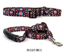 DESIGNER DOG COLLAR & LEAD SET * FREE SHIPPING * MADE IN THE USA (BRIGHT OWLS S)