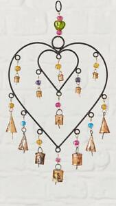 Fair Trade Double Connected Heart Windchime With Beads