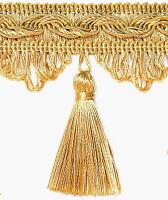 Quastenborte 80mm breit Gold Posamentenborte Fransenborte mit Quasten m.Troddeln