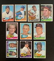 Lot of 10 1965 Topps Baseball Cards w/ Fairly, Yankees Mgr Keane, Billy Herman+