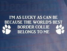 I'M LUCKY AS WORLD'S BEST BORDER COLLIE BELONGS TO ME Car/Van/Window Dog Sticker