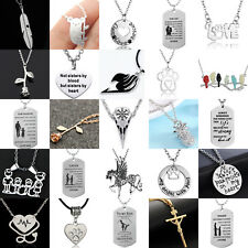 Fashion Women Men Silver Charm Pendant Chain Necklace Heart Dog Tag Necklaces