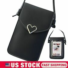 New listing Cross-body Touch Screen Cell Phone Wallet Shoulder Bag Pu Leather Pouch Black