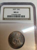 1877-p  Seated Liberty Quarter 25C Coin - Certified ngc  MS61 (BU UNC) - Rare!
