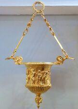 Suspension, Vasque Néoclassique En Bronze Doré, XIX ème, scène à l'antique,