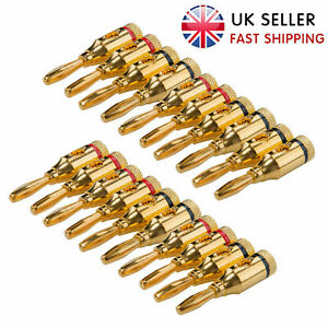 20 x 4mm Gold Plated Musical Audio Speaker Cable Wire Connector 4mm Banana Plugs
