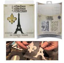 Tim Holtz Alterations Bigz Die - Fleur de Lis & Eiffel Tower & Embossing Folder