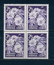 NORFOLK ISLAND 1960-62 DEFINITIVES SG33 2s.5d (FLOWER) BLOCK OF 4 MNH
