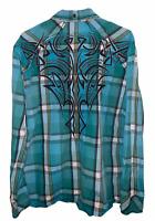 Mens blue plaid ROAR Embroidered Stripe Button Down Shirt Sz 2XL XXL Western