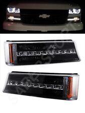 Set of Pair Black Park Signal Lights w/ LED for 2003-2006 Chevrolet Silverado