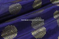 "Indian Floral gold metallic banarsi brocade faux silk fabric 50"" Wide By 10 Yard"