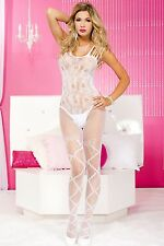 White Open Bottom Multi Strap Fishnet Designer Body Stocking Sexy Lingerie P1448