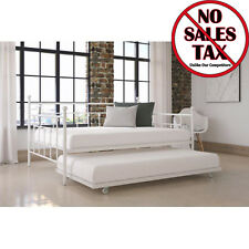 Daybed w/Twin Size Roll-out Trundle Manila Metal Day Bed Sleeper White