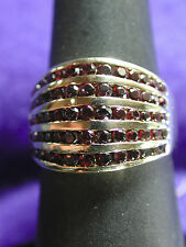 Women's 14K Yellow Gold Red Ruby Round Stones Cocktail Ring Sz 7 Marked