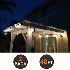 2 Pack of 48FT Outdoor Waterproof Commercial Grade Patio LED String Light Bulbs