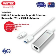 Gigabit Ethernet Converter USB 3.0 Aluminium With USB-C Adaptor UNITEK (Y-3464A)