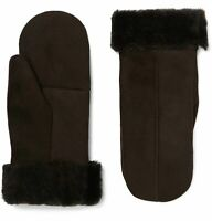 Dents Inverness Shearling-Lined Brown Suede Mittens Size Large