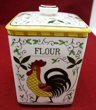 """UCAGCO PY dinnerware EARLY PROVINCIAL Square Flour Canister 5-3/4"""" chip/crack"""