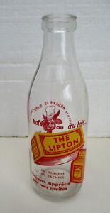 Bouteille à lait vintage en verre pub LIPTON et LAITERIE du ROCHER