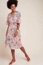 Anthropologie Maeve Adelaide wrap tea oriental pink style dress size XL NWT