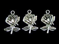 10 Pcs Tibetan Silver Rose Pendant Charm Jewellery Craft Flowers Beading A134