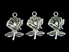 20 Pcs Tibetan Silver Rose Pendant Charm Jewellery Craft Flowers Beading S131