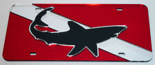 Shark Mirror Dive Flag License Plate Scuba Tag acrylic mirrormade in the USA