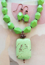 """LIME GREEN CHALK TURQUOISE necklace & PENDANT 17 1/2"""""""