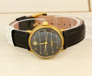 RARE Raketa 2614.H USSR Soviet mechanical gold plated wristwatch black dial date