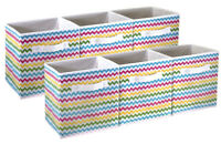 Sorbus Foldable Storage Cube Basket Bin, 6 Pack, Multi-Color Chevron Pattern