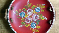 wooden plate with hand painted flowers - folk and lovely