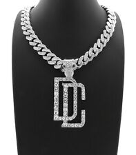 DREAMCHASERS DC PENDANT SILVER CUBAN LINK LAB DIAMOND CHAIN NECKLACE MEEK MILL