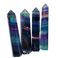 New Natural Fluorite Quartz Crystal Stone Healing Amethyst Hexagonal Wand Decor