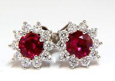 1.68ct Natural Burma Ruby Diamonds Cluster Earrings 14Kt