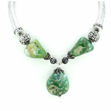 Necklace natural Chrysoprase antique natural defect gemstone beaded 129 grams