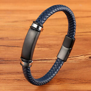 Leather Bracelet Stainless Steel Magnetic Clasp Hand-woven Luxury Charm for Men