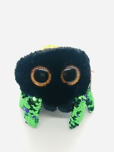 """Ty FLIPPABLES - GLINT the Halloween Spider 6"""" Sequins Beanie Boos NEW Plush Toy"""